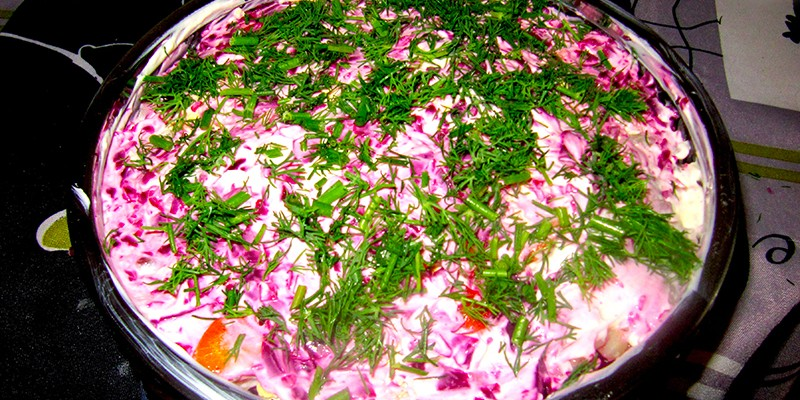 A cold, layered herring salad with a funky name